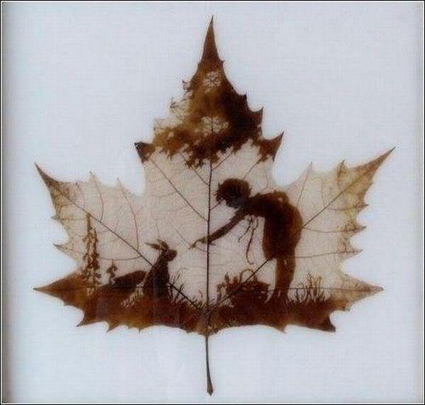 leaves carving masterpieces 03 Leaf carving   a arte de esculpir em folhas