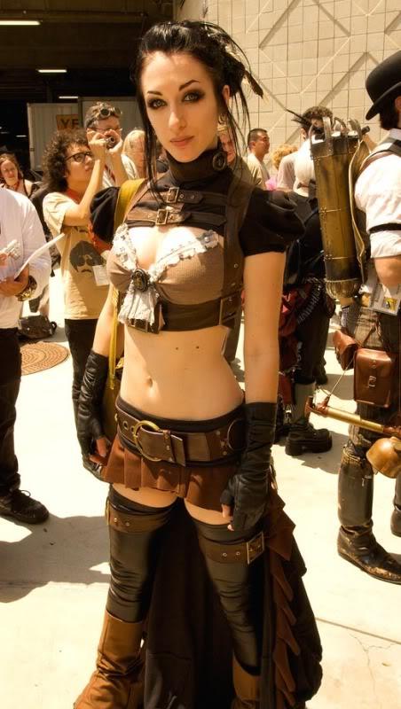 steampunk babe Gatas em cosplay steampunk