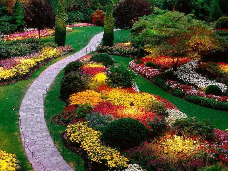 SunkenGardenButchartGardensSaanichPeninsulaBritishColumbiaCanada O jardim mais bonito do mundo