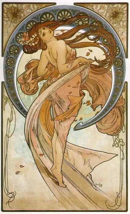 Alphonse Mucha Dance1 Princesas Disney Art Nouveau
