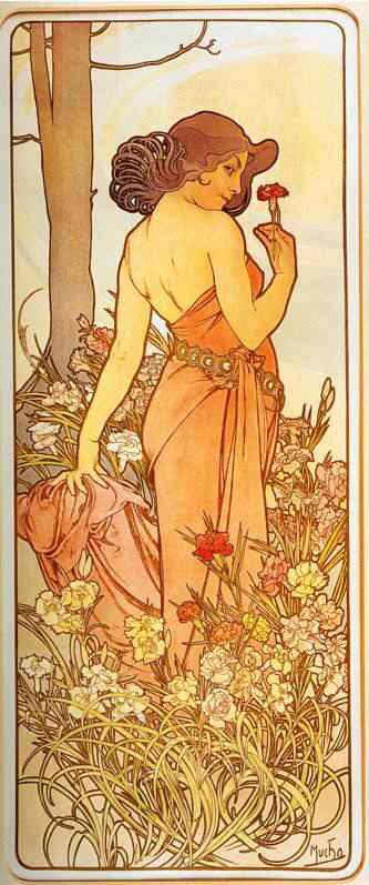 Alphonse Mucha art gallery Carnation From The Flowers Series Princesas Disney Art Nouveau