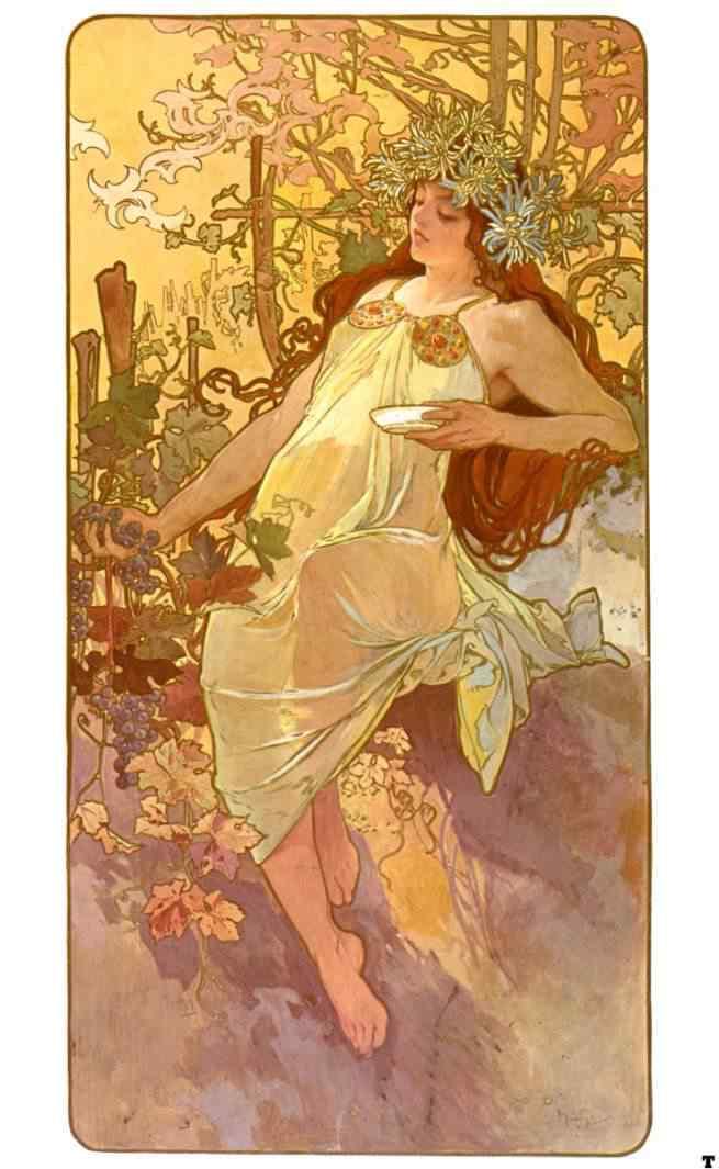 alphonse mucha autumn Princesas Disney Art Nouveau