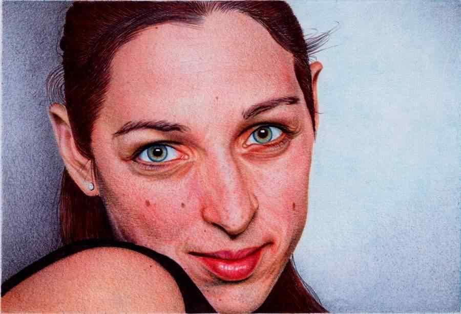 woman  s portrait   bic ballpoint pen by vianaarts d4n86k3 Feito com caneta esferográfica