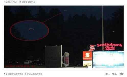 ufos twitter 2013 setembro 497x301 Disco voador surge no céu do Canadá em pleno campeonato de baseball