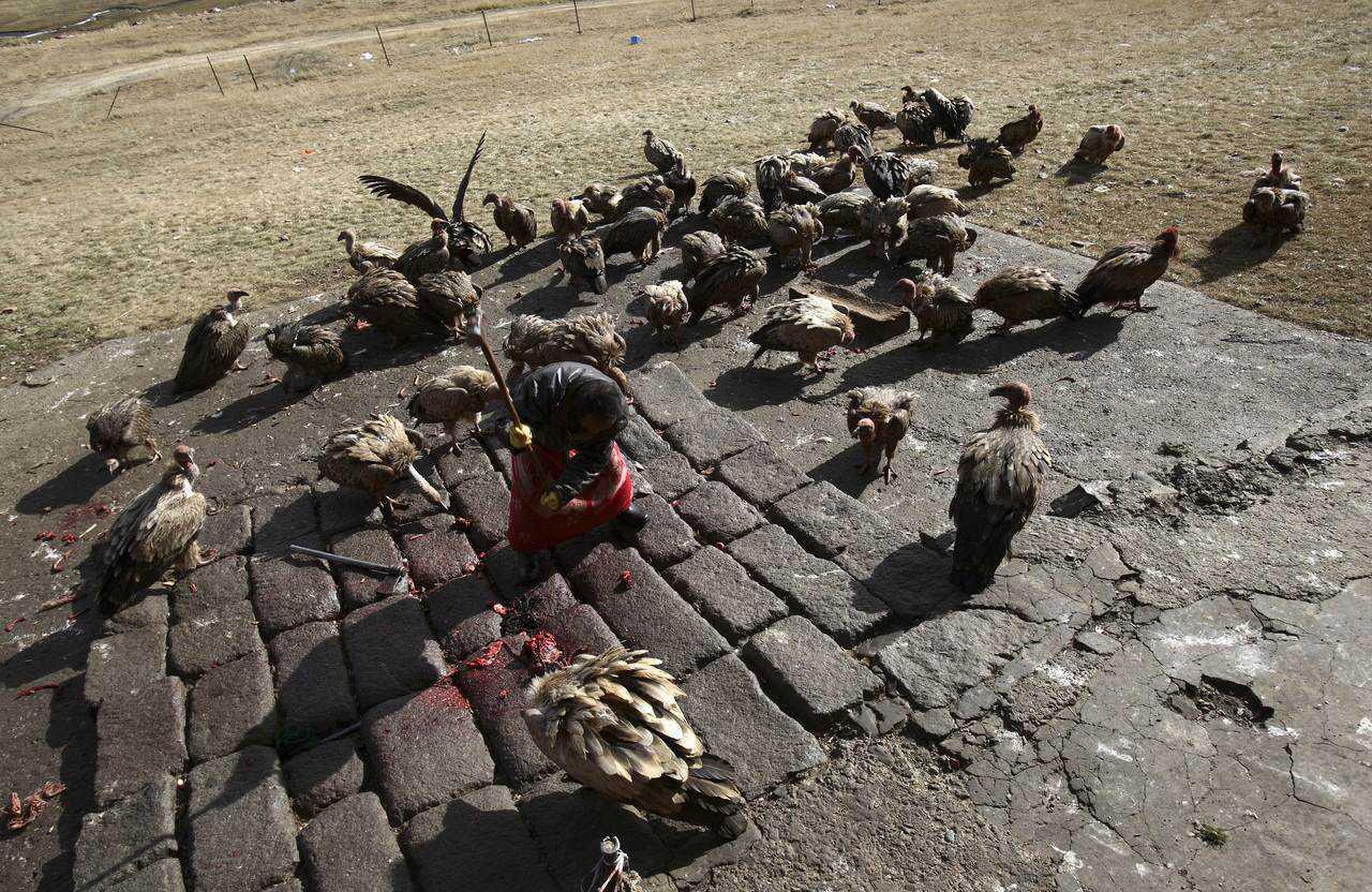 Tibetans Perform Celestial Burial Ceremony