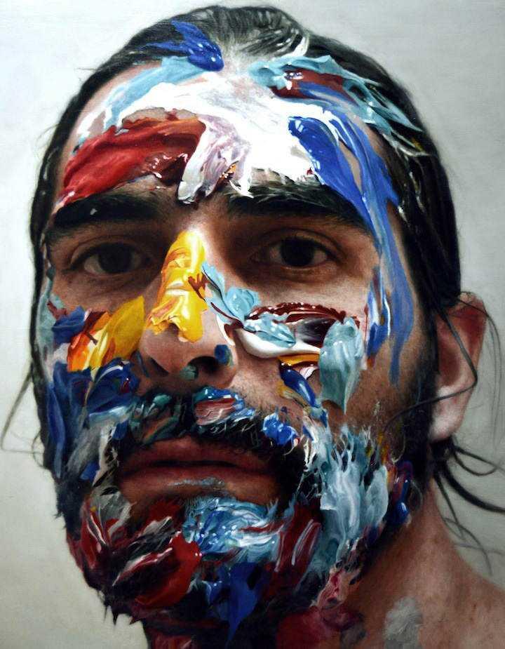 hyperrealistic self portraits paint on face by eloy morales 5 Isso não é a foto de um sujeito com tinta na cara