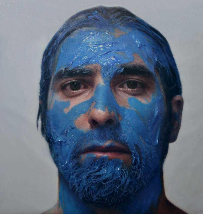 hyperrealistic self portraits paint on face by eloy morales 9 Isso não é a foto de um sujeito com tinta na cara