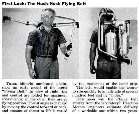 Popular Science   shh flying belt 555 O inevitável desejo de voar: A história dos jetpacks