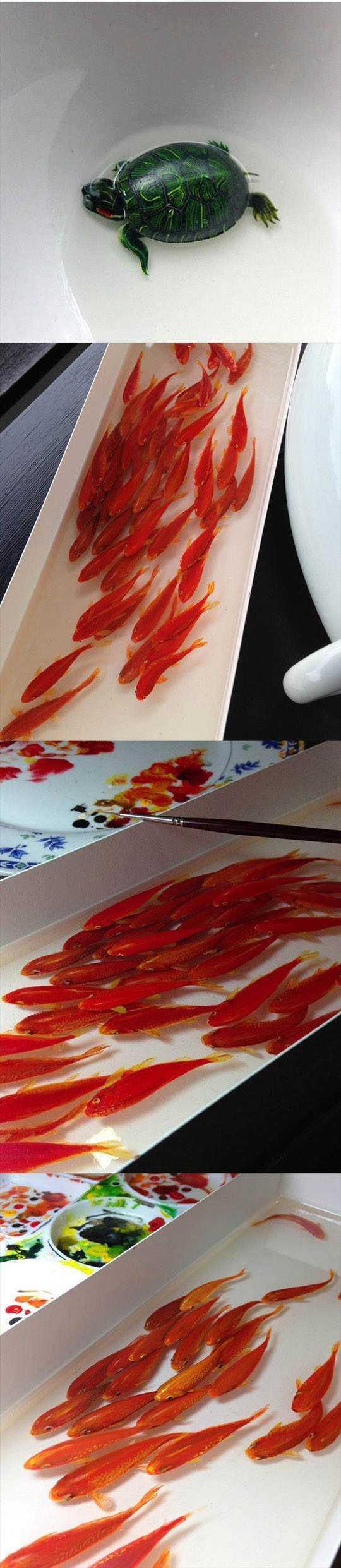 tartaruguinha O polvo fake de Keng Lee e outras pinturas