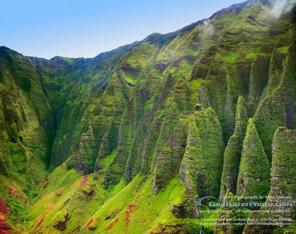 sheer, rugged Cathedral cliffs of Honopu Valley, Na Pali coast, Kauai, Hawaii, USA