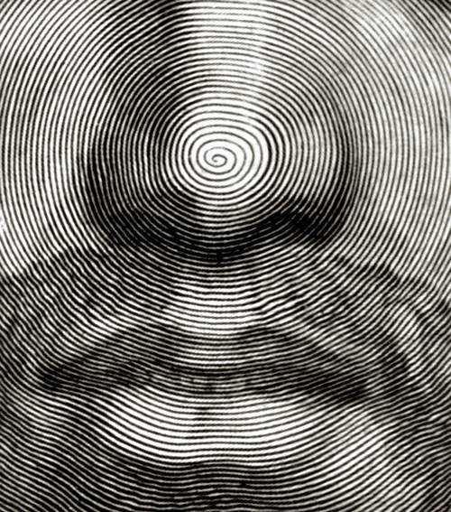 Claude Mellan   Face of Christ detail   WGA14765 Desenho de Jesus feito com uma única linha