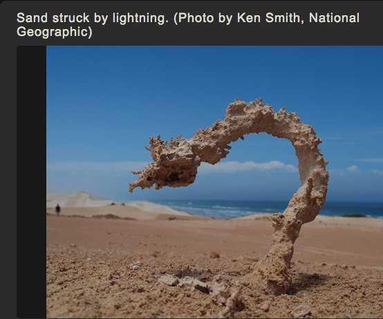 Fulgurite in Sand