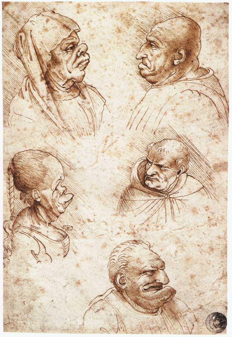 12812 five caricature heads leonardo da vinci Pessoas interessantes