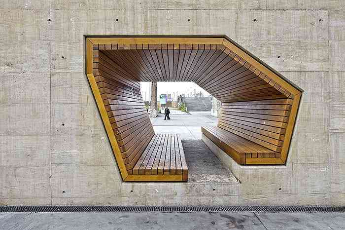 Banco criado por Alleswirdgut Architektur, Luxemburgo