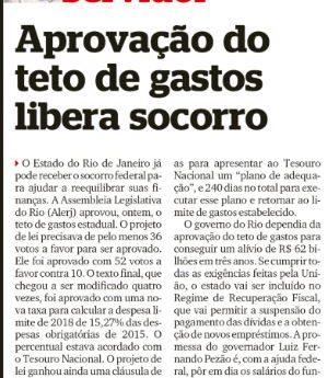 matéria sobre o teto de gastos liberar socorro federal ao Rio de Janeiro