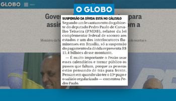 matéria do jornal O Globo sobre o regime de recuperação fiscal dos estados