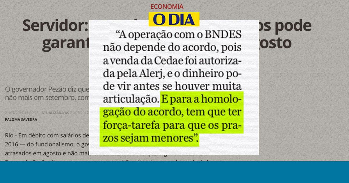 foto do site do jornal O Dia com matéria sobre o governo do Rio