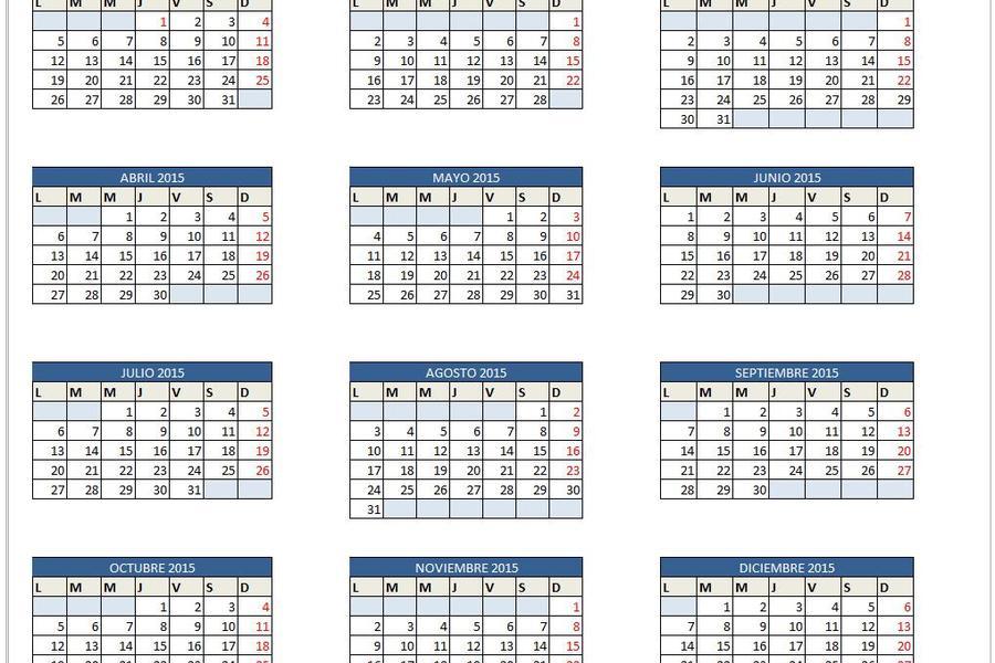 calendario 2016 editable excel c ile web e hükmedin
