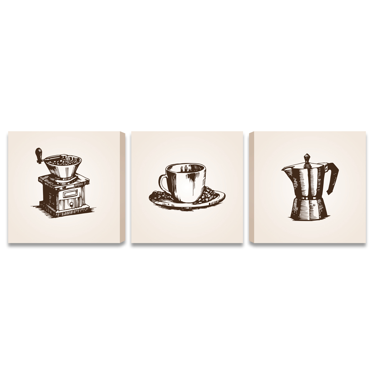 Quadros Grandes Caf Detalhes Cozinha Gourmet 3 Telas Gd Bimper Em
