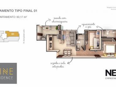 Foto 13 - Apartamento à Venda em Ponta Grossa, Oficinas, 2 quartos, Ref.: 96854-4 - ProcureImóvel