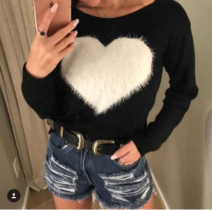 Blusa de Trico com Coração de pelinho