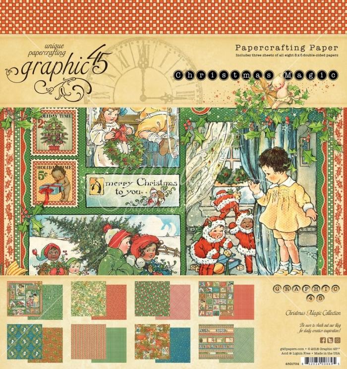 Graphic 45 Bloco de Papel - Christmas Magic - 30,5 x 30,5