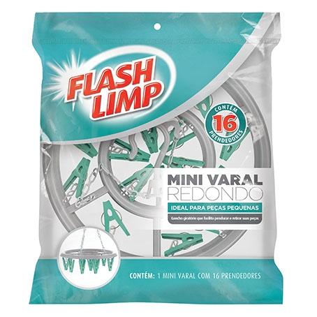 Mini varal redondo c/16 prendedores Flashlimp