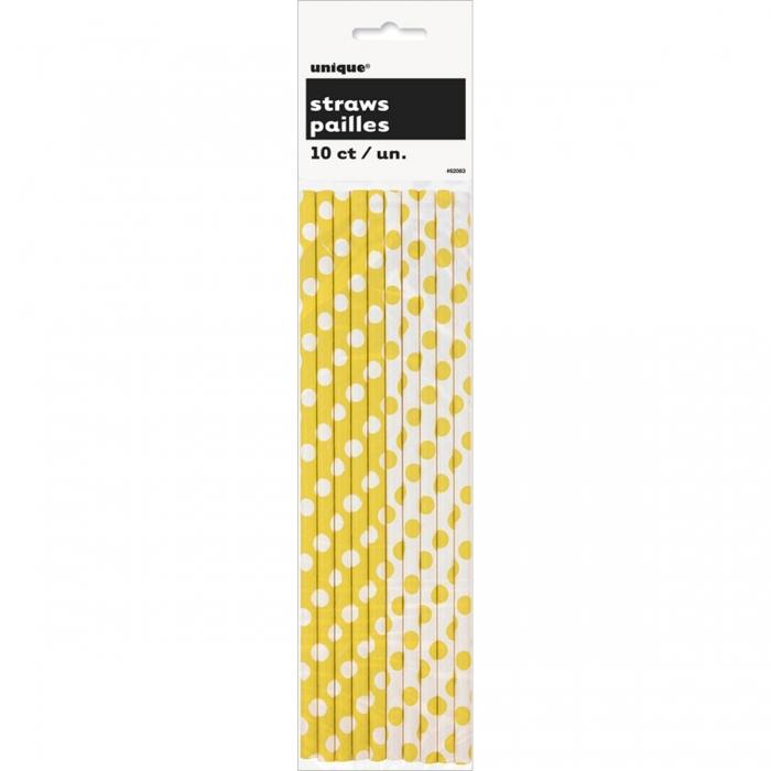 Canudo de Papel Amarelo Poá