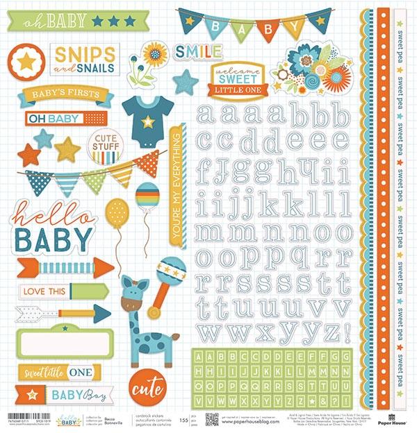 Hello Baby Azul - Adesivos - Paper House