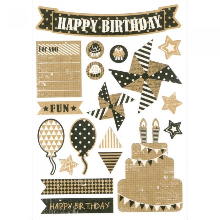 Adesivo Vintage Kraft Happy Birthday / Feliz Aniversário