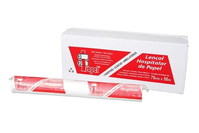 Lencol Hospitalar de papel Extraluxo 70x50cm com 6 rolos