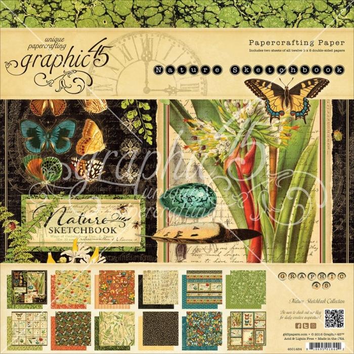 Bloco Papel Nature 8 x 8 Coleção - Graphic 45