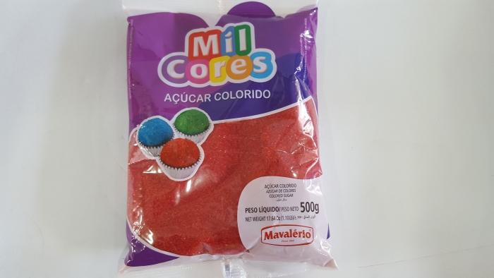 AÇÚCAR COLORIDO MIL CORES VERMELHO 500 GR