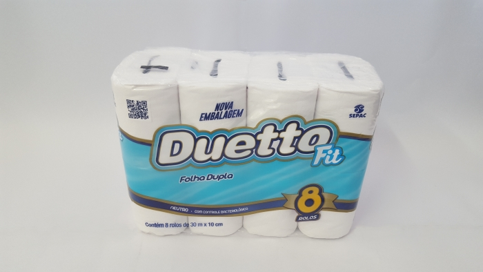 PAPEL HIGIÊNICO DUETTO FIT 8 ROLOS