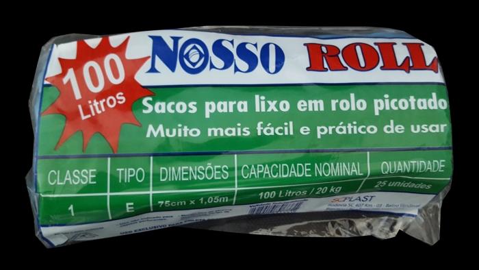 SACO DE LIXO 100 LTS ROLO C/25 UN NOSSO ROLL