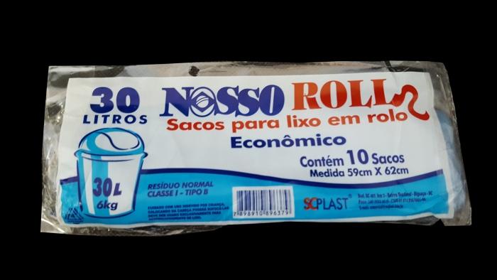 SACO DE LIXO 30 LTS ROLO C/ 10 UN NOSSO ROLL