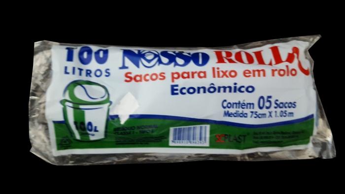 SACO DE LIXO 100 LTS ROLO C/ 5 UN NOSSO ROLL