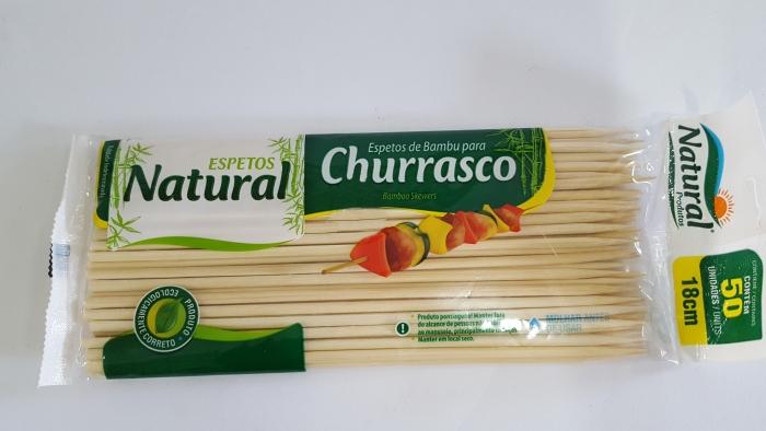 ESPETINHO P/ CHURRASCO C/ 50 UN NATURAL 18 CM
