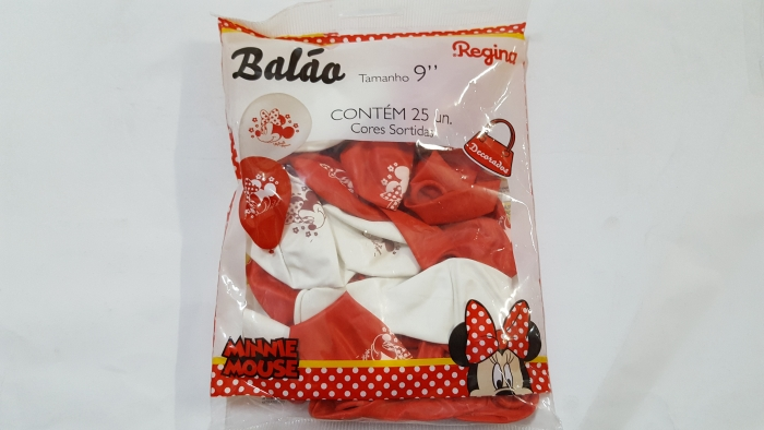 BALÃO RED MINNIE 09 C/ 25 UNI