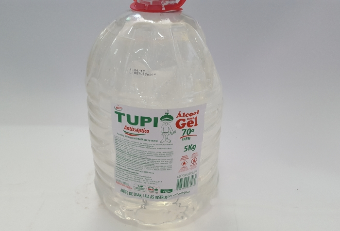 ÁLCOOL GEL 5 LTS ANTISSEP 70 % TUPI