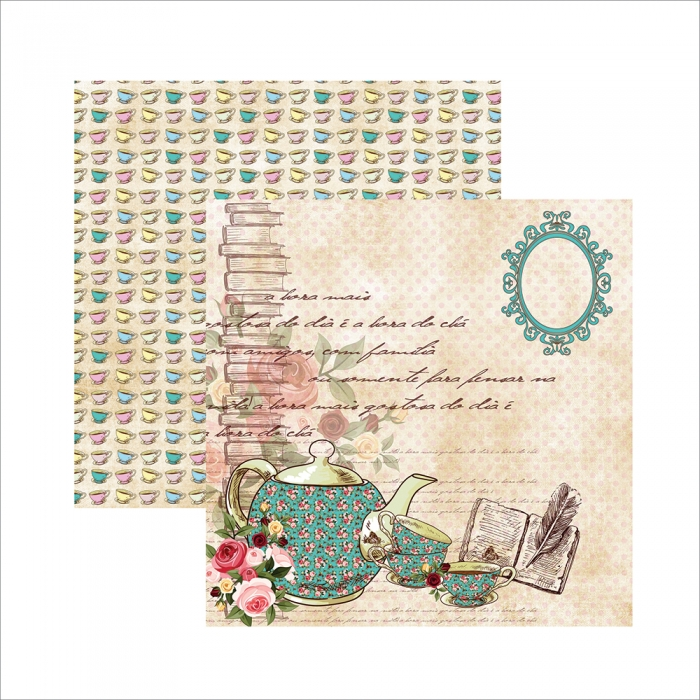 Papel Hora do Chá - Xícaras e Bule