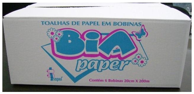 Toalha bobina 20x200x6 Bia Paper Branco Isapel