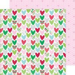 Papel Here Comes Santa Claus Holiday Hearts - Doodlebug