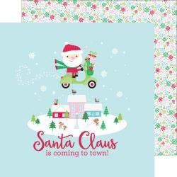 Papel Here Comes Santa Claus Frosty Flakes - Doodlebug