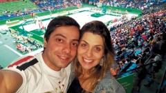 A itapetiningana Camila Terra Barsanti e o namorado Antônio Eduardo Mendes Simões, no Rio de Janeiro, nas Olimpíadas 2016, na praia de Copacabana.