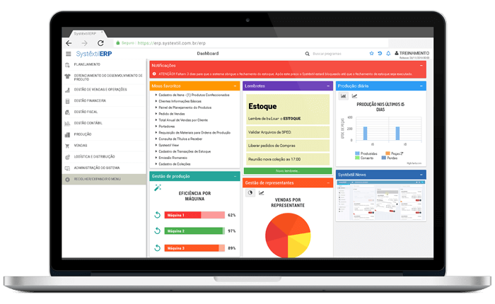 Dashboard Systêxtil ERP