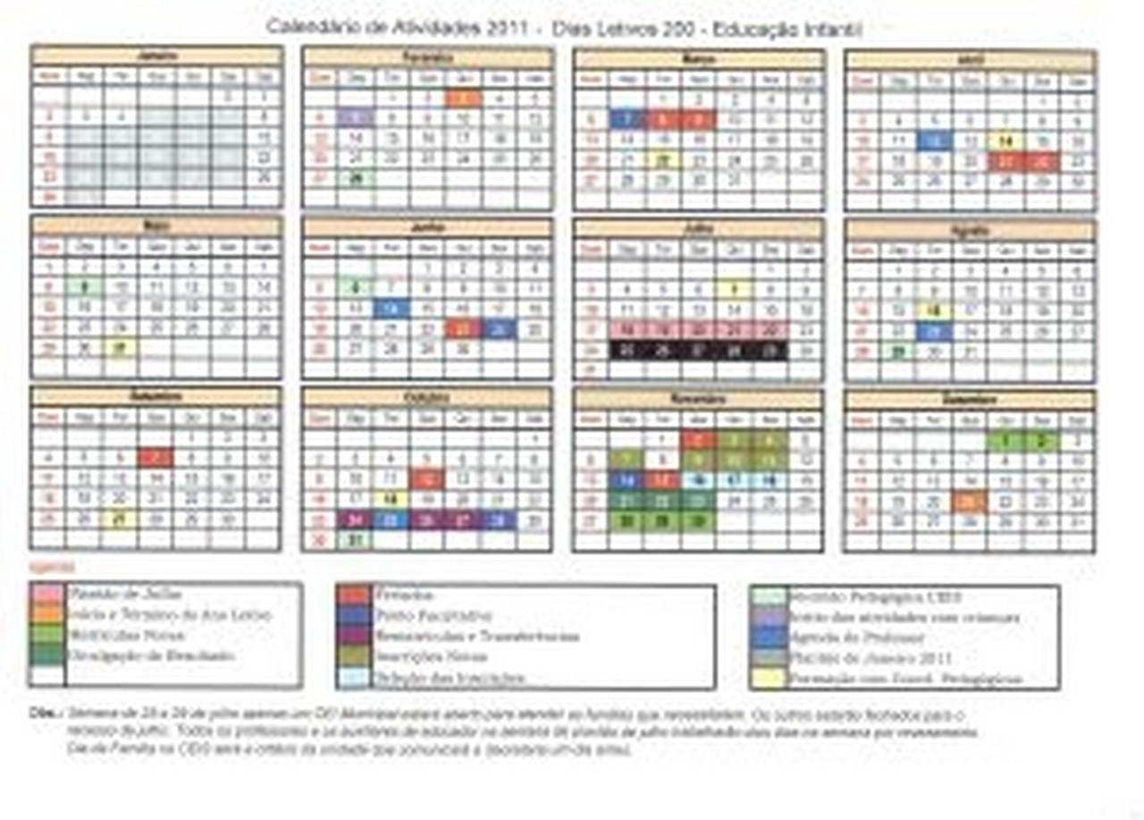 Calendário do Ensino Infantil para o ano letivo de 2011