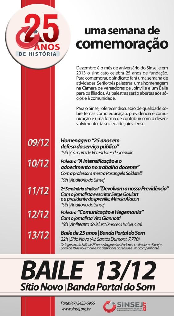 Semana de Comemoração Sinsej 25 anos de história