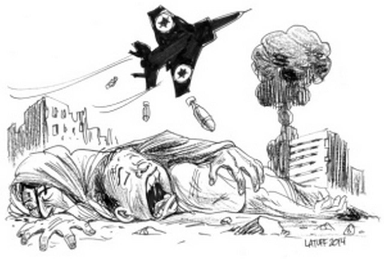 Charge do Latuff contra o massacre do povo palestino