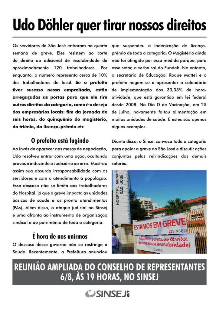 Panfleto está sendo distribuído nas demais unidades de trabalho da Prefeitura